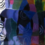 Composizione astratta blu viola